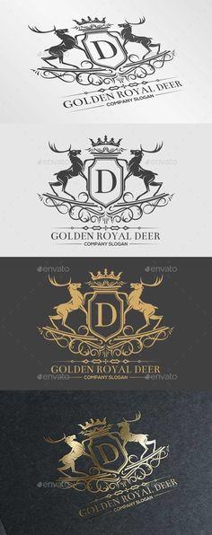 Golden Royal Deer - Crests Logo Templates