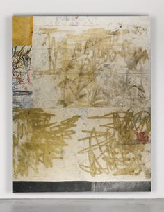 OSCAR MURILLO B. 1986 WORK! #9 signed and dated 2012 on the overlap oil, oil stick, concrete dye, spray paint and dirt on canvas and linen 3...