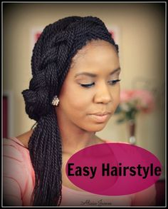 Easy Hairstyle ✿ Spring ✿ - Half Updo With Braid - Senegalese Twist