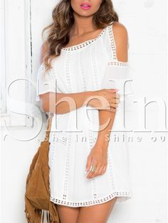 White Short Sleeve Off The Shoulder With Lace Dress 16.49