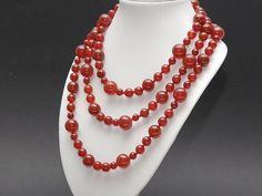 Halskette - Karneol, rot - 160 cm /9900
