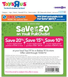 20% off $100 and more at Toys R Us & Babies R Us coupon via The Coupons App