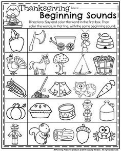 Best Thanksgiving Worksheets Images  Preschool Thanksgiving  November Kindergarten Worksheets  Thanksgiving Beginning Sounds Kindergarten  Worksheets Kindergarten Writing Kindergarten Language