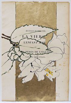 Robert Kushner (1949, American) 2012 Oil, acrylic, ink, and gold leaf on antique book page 21.5 in. (55 cm) 14 in. (36 cm)