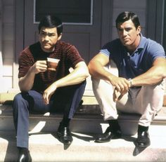 "Bruce Lee with Van Williams starring together in ""The Green Hornet"""