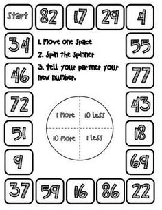 During this game, students will practice telling one more, one less, ten more, and ten less than a given number. This game can be used during Envision's Topic 9: Comparing and Ordering Numbers to 100.
