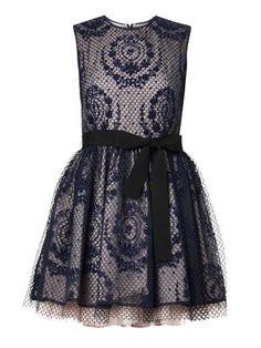 Floral-emblem mesh overlay dress | REDValentino | MATCHESFASHI...   Dark Season Soft / Yin G