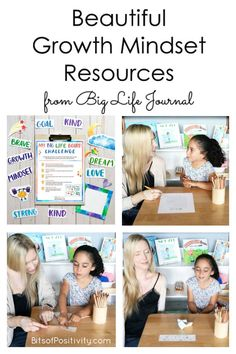 Beautiful growth mindset resources, including printable kits and journals for a variety of ages, from Big Life Journal - Bits of Positivity Growth Mindset Lessons, Growth Mindset For Kids, Growth Mindset Activities, The Power Of Yet, Positivity Blog, Writing Prompts For Kids, Life Journal, Mindfulness Activities, Character Education