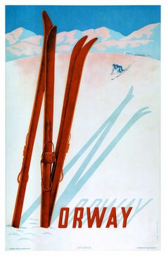 Norway Ski Poster (Claude Lemeunier, Lithograph in colours printed in 1957 by Offset-Service, Norway for Norwegian State Railways and the Norway Travel Association. Ski Vintage, Vintage Ski Posters, Photo Vintage, Retro Poster, Vintage Signs, Norway Viking, Railway Posters, Norway Travel, Vintage Hawaii