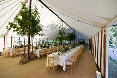 unlined traditional pole marquee to hire for wedding or garden party
