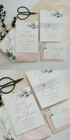 The elegant wedding invitation suite has greenery botanical Pattern and matched vellum belly band. Perfect for any season and has really affordable price. Affordable Wedding Invitations, Wedding Invitation Suite, Elegant Wedding Invitations, Wedding Gifts For Bridesmaids, Wedding Inspiration, Wedding Ideas, Wedding Designs, Wedding Photos, Wedding Decorations