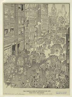 the terrible rush of metropolitan life; those busy new-yorkers - harrison cady Aubrey Beardsley, New York Public Library, Source Of Inspiration, Pencil Illustration, Titanic, Entrepreneurship, City Photo, Illustrations, Ink