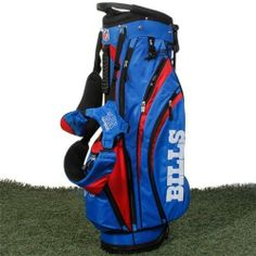 NFL Buffalo Bills Wilson Carry Golf Bag (9 x 8-Inch) by Wilson. $169.99. 7 total pockets to hold all gear; 1 full length side clothing pocket, 1 large side accessory pocket, 1 side valuable pocket, 2 side pockets, 1 front ball/accessories pocket, and 1 large bottom front beverage pocket. Double strap with 4 attachment points for extra comfort. Large side ranger finder pocket, towel/glove holder, umbrella holder and a rain/travel hood cap off this awesome NFL B...