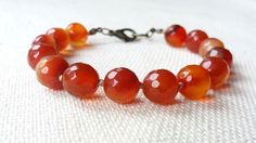 Agate Hand Knotted Bracelet Faceted Orange Agate by CITBhandmade