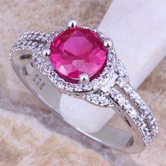 Lujo rojo rubí topacio blanco 925 anillo de plata esterlina para mujer talla 5 / 6 / 7 / 8 / 9 / 10 envío regalo bolsa S0449