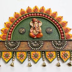 Canvases for large walls. What about the thin ones? Let's not keep them lonely and give them this Sun Ganesh Wall Hanging as its companion. Diwali Diya, Diwali Craft, Clay Art Projects, Clay Crafts, Wooden Name Plates, Clay Ganesha, Name Plate Design, Name Plates For Home, Thali Decoration Ideas
