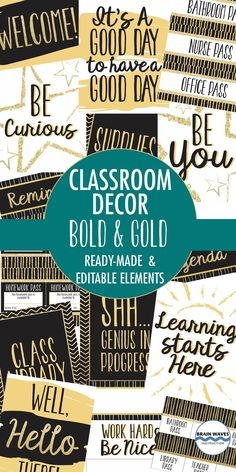"Make your classroom shine with this ""Bold and Gold"" classroom decor pack! Filled with over 200 pages, you'll find everything you need to decorate your classroom. Skip the ""cute"" and display the ""cool!"""