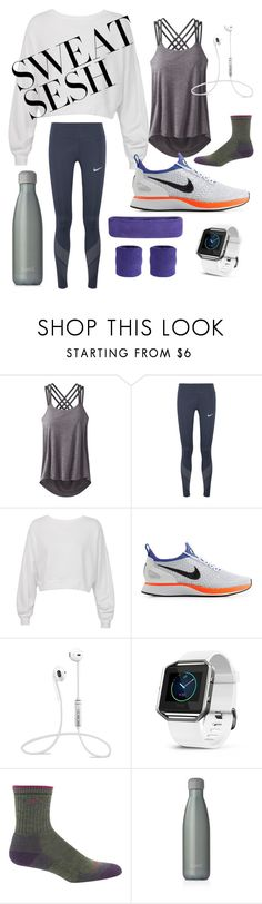 """""""gym nation"""" by popcornelvis ❤ liked on Polyvore featuring prAna, NIKE, Sans Souci, Fitbit, Darn Tough and S'well"""