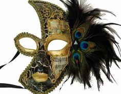 Venetian Style Half Face Feather on Side with Music Note Designed Mask Black and Gold