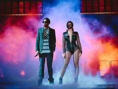 Beyoncé and Jay-Z perform on the On The Run Tour at the Rogers Centre ...