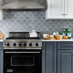 Grey-Moroccan-Fish-Scales Before & After - Grey Moroccan Fish Scale Backsplash All Kitchens Residential Tile Inspiration Moroccan Tiles Kitchen, Moroccan Tile Backsplash, Kitchen Mosaic, White Kitchen Backsplash, Kitchen Wall Tiles, Kitchen Cabinetry, Kitchen Decor, Backsplash Ideas, Backsplash Tile