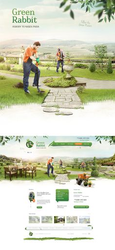 Website for GreenRabbit. Gardening services: design and establishment of gardens. Logo was provided by client.  Visual process www.behance.net/gallery/22827473/GreenRabbit-Gardens   #webdesign #website #garden #visual #photomontage