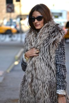 Tweed : black and white tweed jacket with light fur vest. I have both of those, so will have to try this combo!
