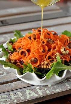 Healthy Carrot Salad | Peas and Crayons < I remain skeptical of the carrot-raisin combo, but it is stunning ...