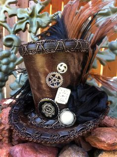 Tiny Top Hat  Steampunk  Mini Top Hat   by BonnieMadeDesigns