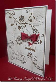 Lee Conrey Images @ Stampin' Up _Flowering Flourishes and Aviary along with the single stamp, Beautiful Birthday