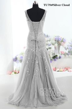Modest Trumpet-Mermaid V-Neck Tulle Mother Of The Bride Dress COLT1300F