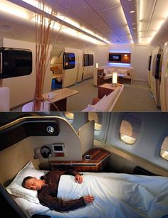 Stunning first class cabin on the Qantas A380 looks like a scene from Star Trek.