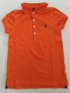 NWT Ralph Lauren Mesh Polo Shirt Kids Girls Preppy Orange Ruffled Collar Size 5 #RalphLauren #Everyday