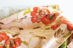 Vintage Japanese Floral Peach Cotton Blanket by FernwoodGoods
