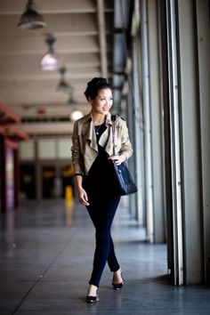 Cropped trench jacket, looks like black shirt, navy jeans, leopard, purple bowed flats, and Vintage Chanel