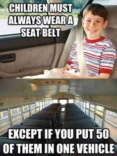 Children Must Always Wear Seatbelt Unless- Funny Gaga
