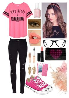 """"""" 《-》 """" by cata-gaspar ❤ liked on Polyvore featuring beauty, Frame Denim, Converse, Bebe, Muse, Essie, Charlotte Tilbury, Forever 21, MAC Cosmetics and Christian Louboutin"""