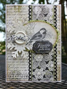 Lovely Friendship Card...with bird, snowflake, & button.