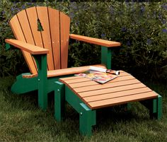 Adirondack Chair & Footstool Woodworking Plan from WOOD Magazine Plans Chaise Adirondack, Wooden Adirondack Chairs, Outdoor Chairs, Outdoor Decor, Wooden Chairs, Dining Chairs, Room Chairs, Adirondack Furniture, Lawn Chairs