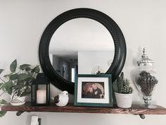Farmhouse shelf with Mirror Den Ideas, Mirror With Shelf, Bedroom Ideas, Farmhouse, Shelves, Interior, Diy, Furniture, Home Decor