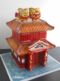 Sculpted wedding cake inspired by Shuri castle in Okinawa, Japan. Cake by Rick Reichart, cakelava