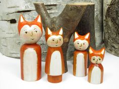 Little Fox Family of four wooden peg dolls by Gnomewerkspdx