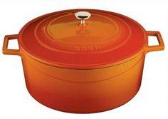 Garnek żeliwny emaliowany z pokrywą, pomarańczowy (średnica: 20 cm) - Lava Cooking