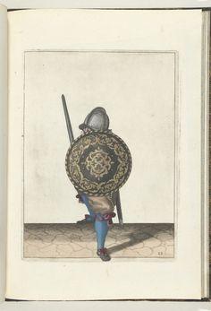 De exercitie met schild en spies: de soldaat in een verdedigende houding met een voet naar voren en met zijn rapier en schild op de knie voor het lichaam, gezien van voren (nr. 22), 1618 |anoniem #fencing #esgrima #sword #shield