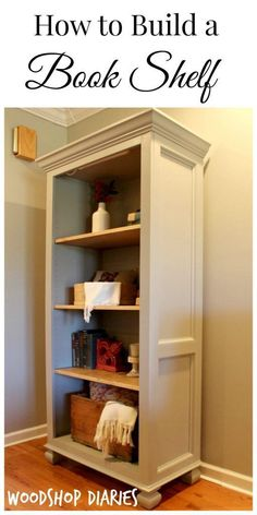 How to Build a Bookshelf. Free building plans for this DIY bookshelf. Great for display and storage in a living room or home office! Diy Wood Projects, Furniture Projects, Furniture Plans, Home Projects, Diy Furniture, Furniture Stores, Bookshelves Built In, Build A Bookshelf, Diy Bookcases