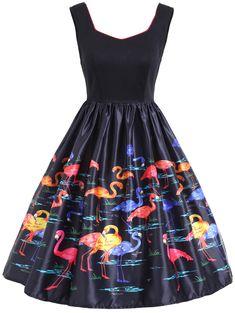 Flamingo Print Sleeveless Vintage Dress in Black XL | Sammydress.com