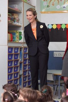 Infanta Elena of Spain attends Tres Olivos school, where deaf and non-deaf children study together, on 09.04.14 in Madrid, Spain