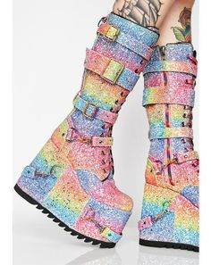 180 Free, fast shipping on Sparkle Pony Platform Boots at Dolls Kill, an online boutique for burner clothing, LED clothing, playa shoes & accessories. Platform High Heels, Platform Boots, High Heel Boots, Heeled Boots, Sandals Platform, Ankle Boots, Sock Shoes, Cute Shoes, Me Too Shoes