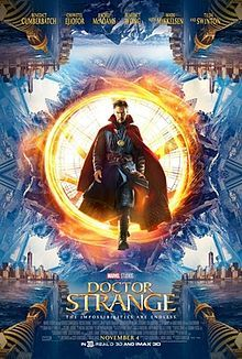 Doctor Strange, wearing his traditional costume, coming out from a flowing energetic portal, and around him the world and New York turning around itself with the film's cast names above him and the film's title, credits and billing are underneath.