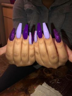 There are three kinds of fake nails which all come from the family of plastics. Acrylic nails are a liquid and powder mix. They are mixed in front of you and then they are brushed onto your nails and shaped. These nails are air dried. Purple Acrylic Nails, Best Acrylic Nails, Purple Stiletto Nails, Purple Glitter Nails, Purple Nail Art, Square Acrylic Nails, Purple Nail Designs, Acrylic Nail Designs, Acrylic Art
